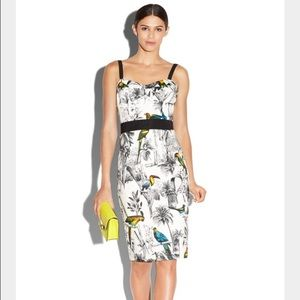 Milly - Tropical Bird Print Bustier Sheath Dress